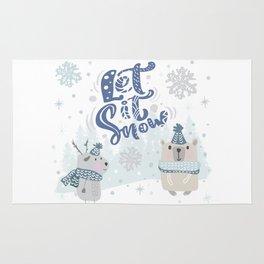 Let It Snow Winter Fun Illustration Rug