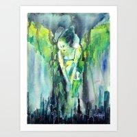 sin city Art Prints featuring Sin City by Beata Belanszky Demko