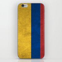 colombia iPhone & iPod Skins featuring Colombia Flag (Vintage / Distressed) by Patterns
