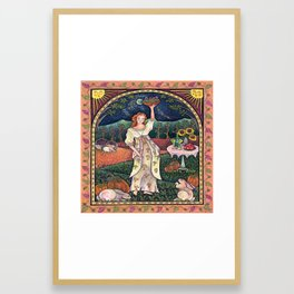 Wine Harvest Maiden Framed Art Print
