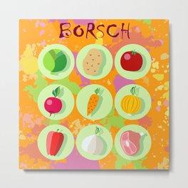 Borsch. Russian traditional dish. Metal Print