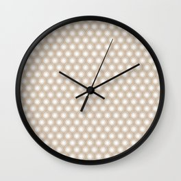 White Polka Dots and Circles Pattern on Pantone Hazelnut Wall Clock