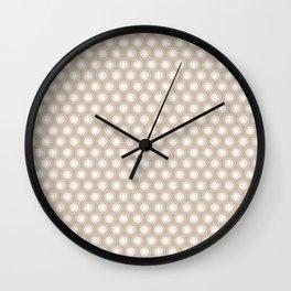 White Polka Dots and Circles Pattern on Pantone Hazelnut Wall Clock
