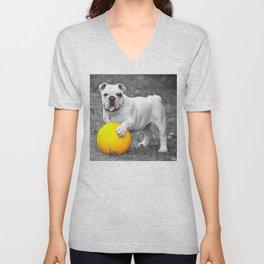 English bulldog white and the yellow ball Unisex V-Neck