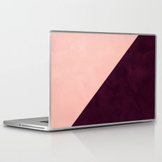 Modern blush pink burgundy watercolor color block geometric Laptop & iPad Skin