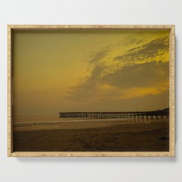 Sunset at Cayucos Beach, California Serving Tray