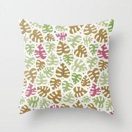 Monstera Doodles in Natural Throw Pillow