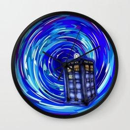 Blue Phone Box with Swirls Wall Clock