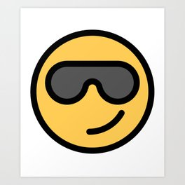 smiley face cool sunglasses happy face cute grey glasses art print