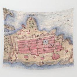 Vintage Map of San Juan Puerto Rico (1770) Wall Tapestry