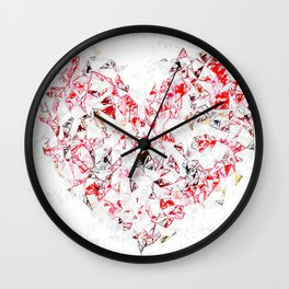 red heart shape abstract with white abstract background Wall Clock