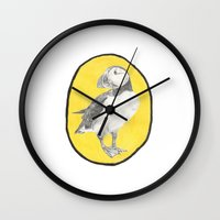 puffin Wall Clocks featuring Puffin by CSMalcolm Illustration
