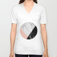 white marble V-neck T-shirts featuring Marble Collage by cafelab