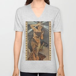 """Alphonse Mucha """"The Moon and the Stars Series: The Morning Star"""" Unisex V-Neck"""