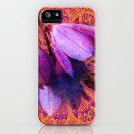 Grunge blue bells and lace mandala iPhone Case