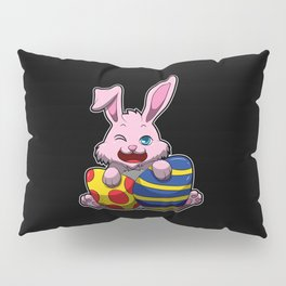 Cute Easter Bunny Wishes You A Happy Easter Pillow Sham