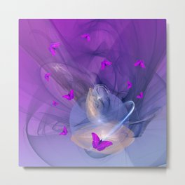 Birth of butterfly wishes Metal Print