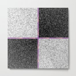 Black and white marble with a bit of pink Metal Print