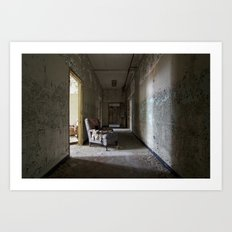 Chair in asylum hallway Art Print