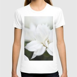 Snow White Flowers on a Dark Background #decor #society6 #buyart T-shirt