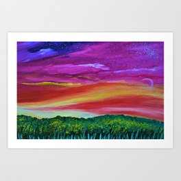 Sunset Memories - Abstract Sky - Landscape Oil Painting Art Print