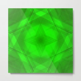 Scalding triangular strokes of intersecting sharp lines with green triangles and a star. Metal Print