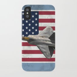 F-22 Raptor Fighter Jet over a Patriotic American Flag iPhone Case
