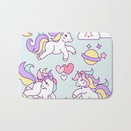 Sketches of unicorn with lovely elements Bath Mat