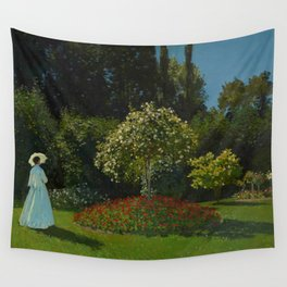 Lady in the garden Wall Tapestry