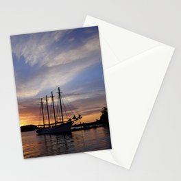 Schooner at sun rise Stationery Cards