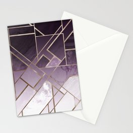 Purple geometric marble pattern Stationery Cards