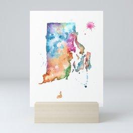 Rhode Island Watercolor Map - State Map Art - Watercolor Maps Mini Art Print