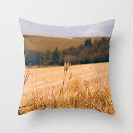 Summer wheat field Throw Pillow