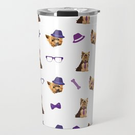Yorkshire Terrier Pattern Purple Travel Mug