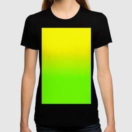 Neon Yellow and Neon Yello Green Ombré  Shade Color Fade T-shirt