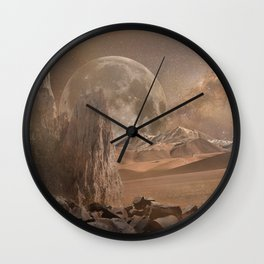 Mars Landscape (Futuristic Illustration) Wall Clock
