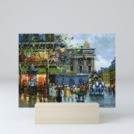 Paris Cafes and Opera House, Autumn, France landscape painting Mini Art Print