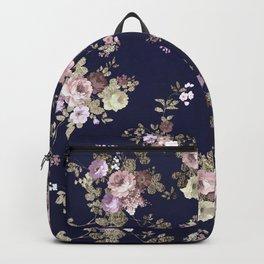 Elegant navy blue lilac pink gold glitter floral Backpack
