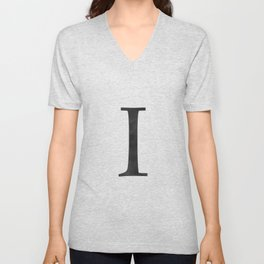 Letter I Initial Monogram Black and White Unisex V-Neck