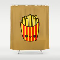 french fries Shower Curtains featuring Yummy kawaii fries by Holly