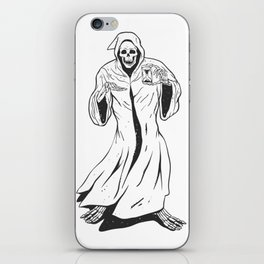 Grim reaper holding an hourglass -  black and white iPhone Skin