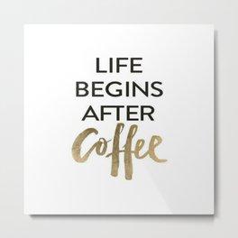 But First Coffee Brushtroke Watercolor Metal Print