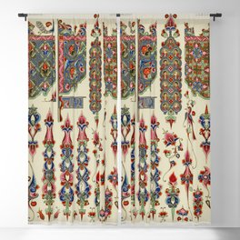 Armenian pattern from Lornement Polychrome (1888) by Albert Racinet (1825-1893) Blackout Curtain