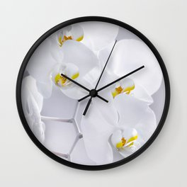 Orchid white macro 029 Wall Clock
