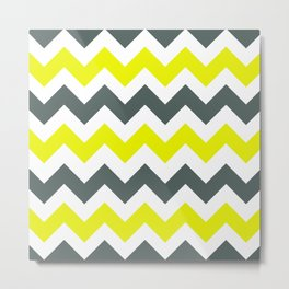 Chevron Pattern In Limelight Yellow Grey and White Metal Print
