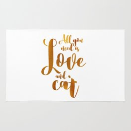 All you need is Love and a cat (gold) Rug