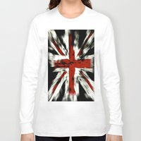 uk Long Sleeve T-shirts featuring UK Flag by WonderfulDreamPicture