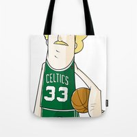 larry Tote Bags featuring Larry Bird by frappeboy