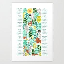 forest friends calendar 2015 mountain fresh Art Print