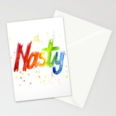 Nasty Woman Rainbow Watercolor Text Stationery Cards